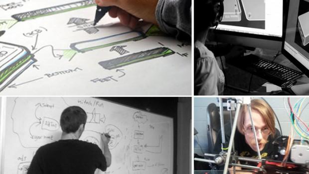 Working on AdTrap. Photo from AdTrap's Kickstarter page