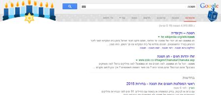 Google Hanukkah Easter-egg 2014. Screenshot: Ido Kenan