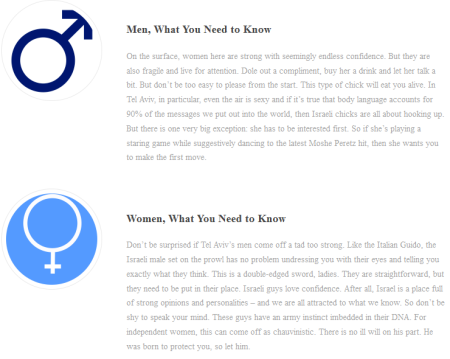 A guide about men and women on an official Tel Aviv municipality site