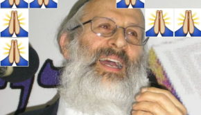 Praying folded hands emoji and Rabbi Shlomo Aviner. Aviner Image: Arielhorowitz cc-by-sa