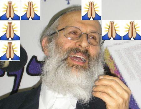 Praying folded hands emoji and Rabbi Shlomo Aviner. Aviner Image: Arielhorowitz cc-by-sa