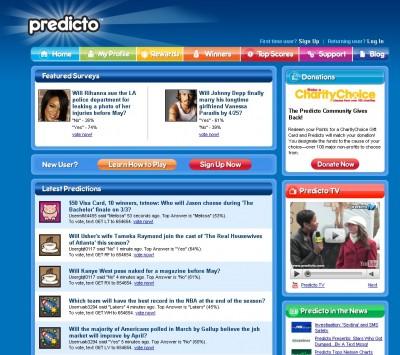 עמוד הבית של Predicto.com
