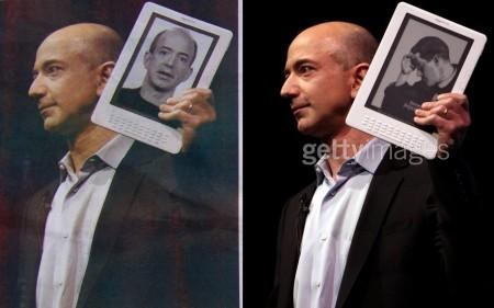 ג'ף בזוס בתמונה המקורית של גטי אימג'ס מימין, ובתמונה המעובדת של מעריב משמאל