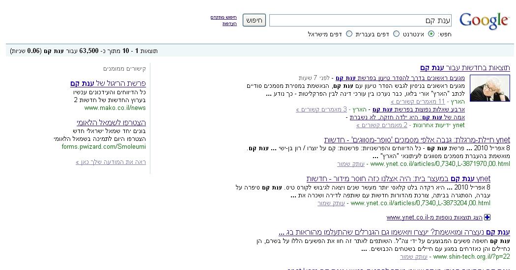 חדשות Ynet Detail: » פרשת ענת קם