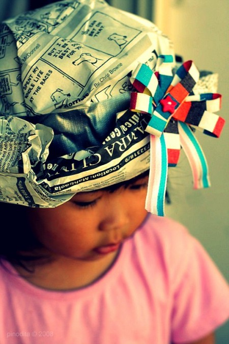 Crafting with Kids - Newspaper Hat, By Pinot & Dita (cc-by-nc)