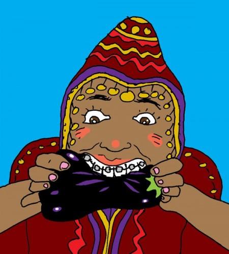 ילדה תימניה אוכלת חציל. איור- אמיתי סנדי, עבור אתר ''לא רלוונטי''