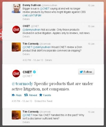 דיון טוויטר על שערוריית CNET-Dish