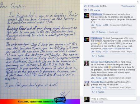 המכתב שפרסם אתר FCKH8  הפייסבוק של FCKH8