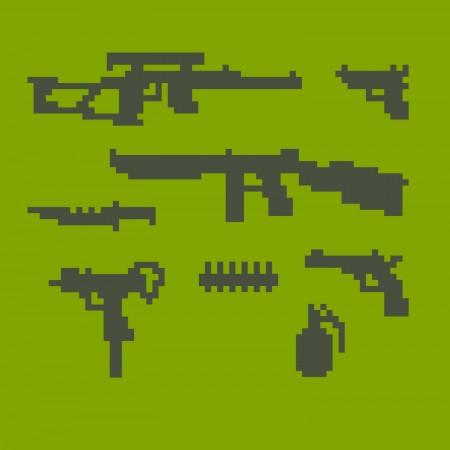 כלי נשק מפוקסלים. איור: dmitriylo / Shutterstock