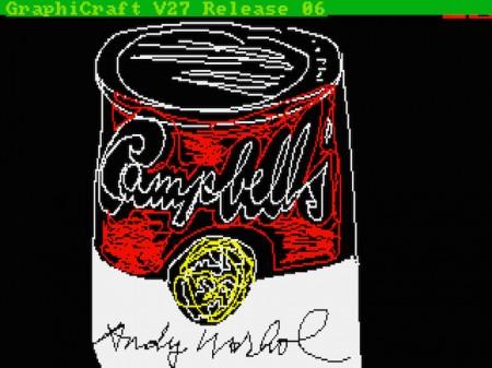 Campbell's, ציור מחשב של אנדי וורהול משנת  1985, אחת מ-23 יצירות שהתגלו לאחרונה. ©The Andy Warhol Foundation for the Visuals Arts, Inc., (שימוש הוגן)