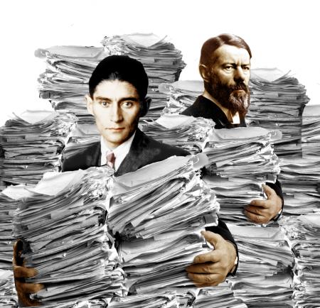 מייסד חקר הביורוקרטיה מקס וובר והסופר פרנץ קפקא. איור: Harald Groven (cc-by-sa)