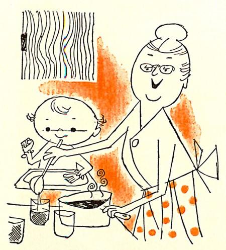 סבתא מאכילה ילד. איור: James Vaughan (cc-by-nc-sa)