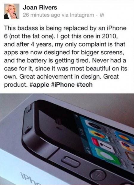 סטטוס פייסבוק של ג'ואן ריברז שממליץ על אייפון 6, שפורסם ב-19.9.2014, כשבועיים אחרי מותה