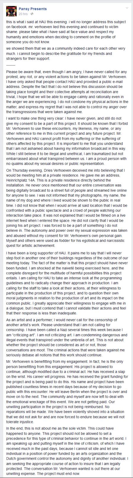 סטטוס הנאום של פנסי פרזנטס