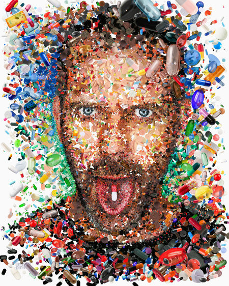 Hugh Laurie: The House ...of pills. איור: Charis Tsevis (cc-by-nc-nd)