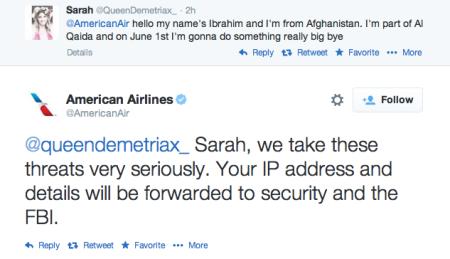 התכתבות טוויטר בין שרה לבין אמריקן איירליינז