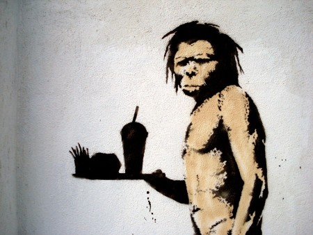 Banksy's caveman. צילום: Lord Jim (cc-by)