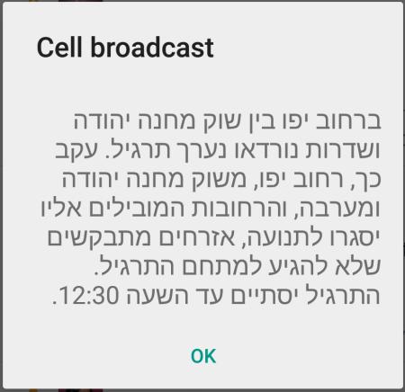 התרעת חירום על תרגיל בטחוני בירושלים, 2.2015