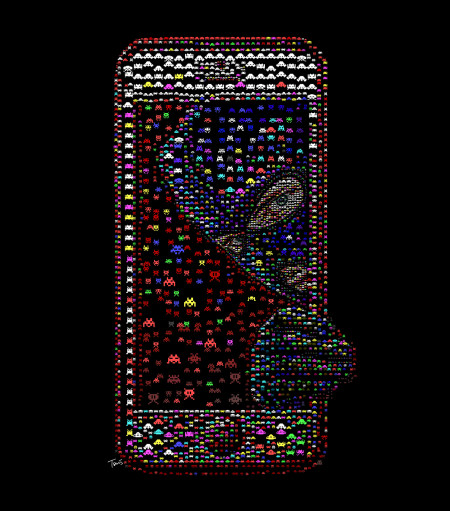 קראקר בטלפון הסלולרי. איור: חאריס טסוויס (cc-by-nc-nd)