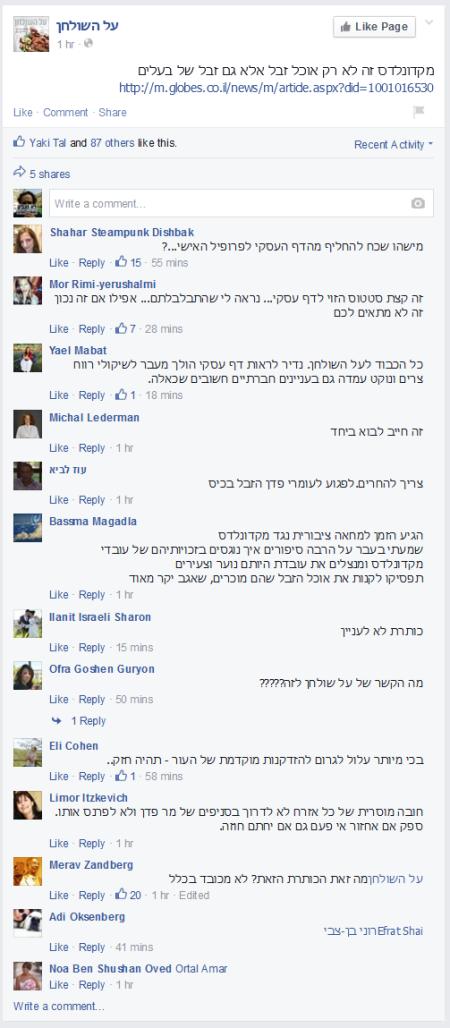 """סטטוס נגד מקדונלדס בפייסבוק של """"על השולחן"""", 28.3.2015"""
