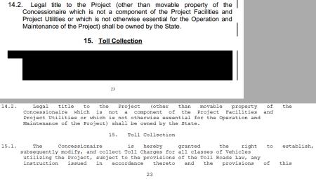 הקטע המושחר בהסכם הזכיון של מנהרות הכרמל, ואותו קטע ללא השחרה
