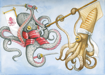 Octopus v. Squid. איור: Phineas Jones (cc-by-nc-nd)
