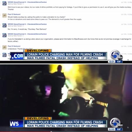 שיחה בין ABC 5 קליבלנד לבין פול פלטון, שמציע את סרטון התאונה תמורת תרומה; וקטע מסרטון התאונה; שני הצילומסכים מהכתבה של הערוץ