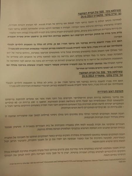 שאילתה של שרון מלכי בנושא וושותשובה של ראש העירייה רון חולדאי בישיבת מועצת עיריית תל אביב, 1.7.2013