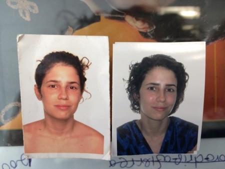 תמונות פספורט של יעל אילני. משמאל: התמונה שמשרד הפנים הגדיר תמונת עירום. צילום: יעל אילני
