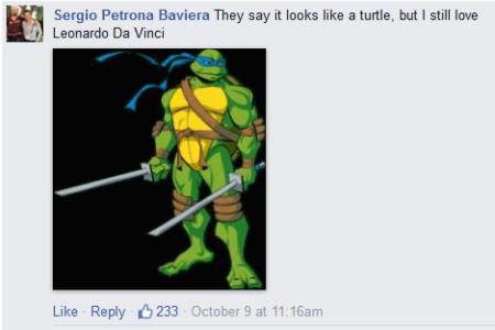 תגובה בפייסבוק לטעות של דן בראון בזיהוי האלטרה דלה פאטריה
