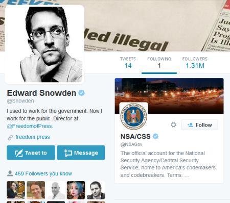 אדוארד סנואודן עוקב בטוויטר אחרי NSA