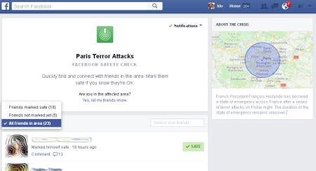 כלי Facebook Safety Check בפיגועי הטרור בפריז, 14.11.2015