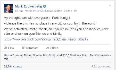פוסט פייסבוק של מארק זאקרברג על פיגוע הטרור בצרפת, שפורסם ב-13.11.2015