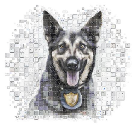 כלב סייברשמירה. איור: חאריס טסוויס (cc-by-nc-nd)