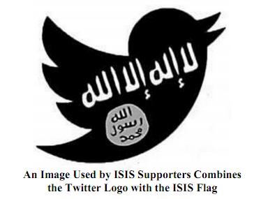 """לוגו הציפור של טוויטר בשילוב הדגל של דאע""""ש, מתוך כתב התביעה של טמרה פילדז"""