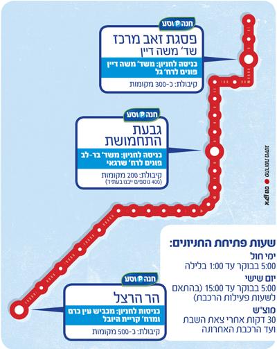 מפה של חניוני חנה-וסע של הרכבת הקלה