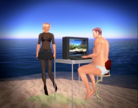 איש בתחתונים ליד מחשב ואישה בחולצה חצי שקופה, בסקנד לייף. תמונה: Botgirl Questi (cc-by-nc)