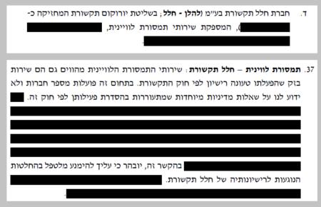 הטקסט המודגש בשחור בהסכם ניגוד העניינים של שר התקשורת בנימין נתניהו ואיש העסקים שאול אלוביץ', שכתב היועץ המשפטי לממשלה אביחי מנדלבליט