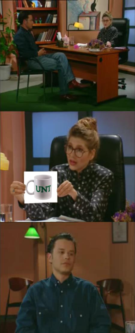 מערכון מבחן הרורשאך והכוס של החמישיה הקאמרית עם כוס ה-CUNT של UNT. מם: עידו קינן, חדר 404