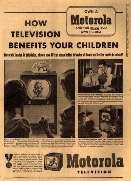 """""""איך הטלוויזיה מועילה לילדיכם"""", מודעה של מוטורולה משנת 1950. תמונה: robert wade (cc-by-nc-sa)"""
