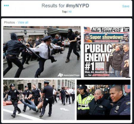 תמונות אלימות משטרתית של שוטרי ניו יורק שהועלו בהשתגית #myNYPD ב-2014. תמונה: truthinmedia.com