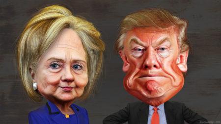 """דונלד טראמפ והילרי קלינטון, המתמודדים בבחירות לנשיאות ארה""""ב 2015. תמונה: DonkeyHotey (cc-by-sa)"""