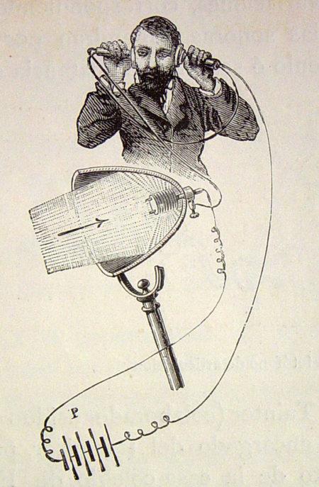 פוטופון, טלפון שבו הקול משודר על קרני אור. תמונה: אמדי גיימין (Amédée Guillemin), נחלת הכלל