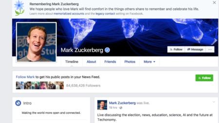 """הפרופיל המונצח של מנכ""""ל פייסבוק מארק זאקרברג, שהפך למונצח בעקבות תקלה באתר"""
