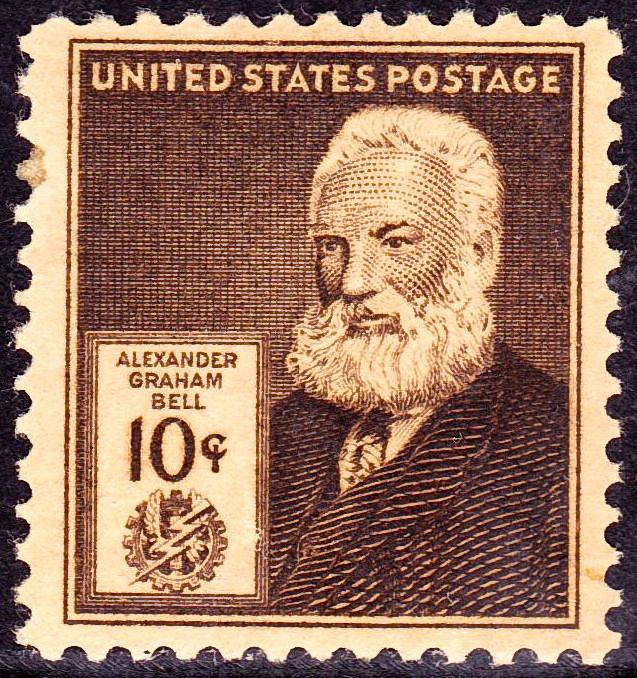 בול שמוקדש לממציא הטלפון, אלכסנדר גרהאם בל, שהנפיקה רשות הדואר האמריקאית ב-1940. נחלת הכלל