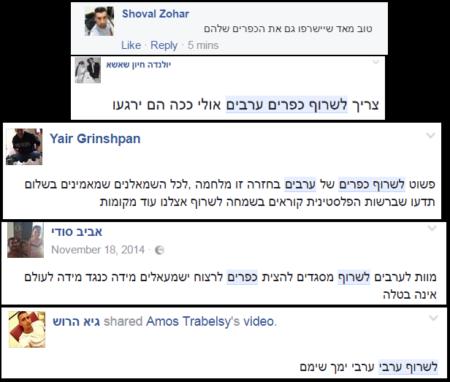 """יהודים-ישראלים מסיתים לשריפת ערבים בפייסבוק, 2016. תמונה: """"שיחה מקומית"""""""
