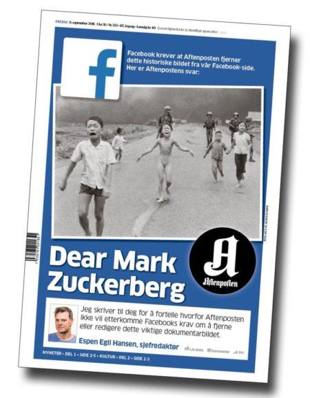 """שער העיתון הנורבגי אפטנפוסטן עם הפניה למכתב הפתוח של העורך אספן אגיל הנסן למייסד ומנכ""""ל פייסבוק מארק זאקרברג, 8.9.2016"""