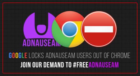 באנר של אדנוזיאם נגד החסימה מצד גוגל כרום, ינואר 2017