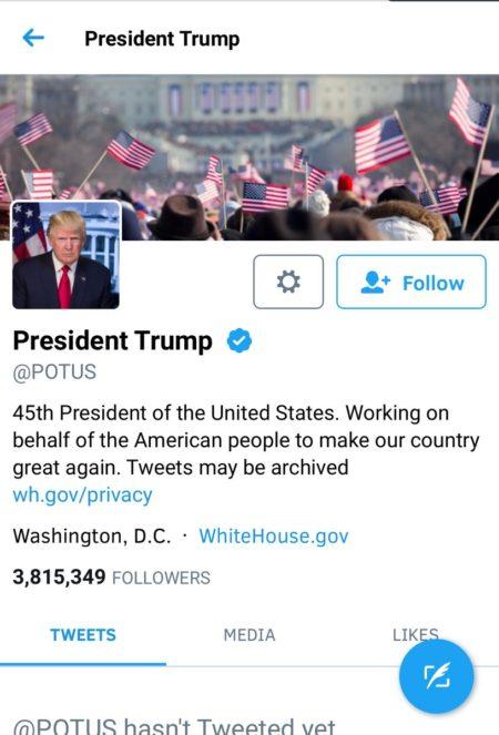 """הטוויטר הרשמי של נשיא ארה""""ב, דונלד טראמפ, ב-20.1.2017, עם תמונת שער מאירוע ההשבעה של ברק אובמה ב-2009"""