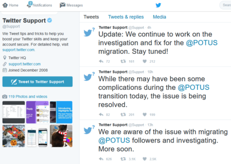 חשבון התמיכה הטכנית של טוויטר מצייץ על התקלה במעקב אחר @potus